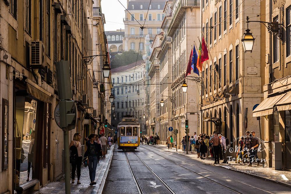 Tram (street car) and street scene, Lisbon, Portugal