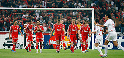 Athens, Greece - Wednesday, May 23, 2007: Liverpool's Javier Mascherano, Xabi Alonso, Luis Garcia, Steven Gerrard, Dirk Kuyt, Jamie Carragher and Boudewijn Zenden look dejected after AC Milan scores the opening goal during the UEFA Champions League Final at the OACA Spyro Louis Olympic Stadium.  (Pic by David Rawcliffe/Propaganda)