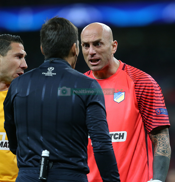 6 December 2017 - Champions League Football - Tottenham Hotsur v APOEL FC - Apoel Nicosia goalkeeper Nauzet Perez argues with the fourth official - Photo: Charlotte Wilson / Offside