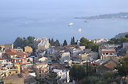 Bay of Taormina as seen from the mountain, at sun set, sicily, Italy, July 2006