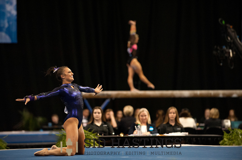 21 APRIL 2018 -- ST. LOUIS -- LSU gymnast Lexie Priessman competes in the Floor Exercise during the 2018 NCAA Women's Gymnastics Championship Super Six at Chaifetz Arena in St. Louis Saturday, April 21, 2018. The Tigers finished fourth in the nation during the meet.<br /> Photo &copy; copyright 2018 Sid Hastings.