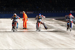 13.03.2016, Assen, BEL, FIM Eisspeedway Gladiators, Assen, im Bild Am Start Daniil Ivanov (RUS), Dmitry Khomitsevich (RUS), Dmitry Koltakov (RUS) // during the Astana Expo FIM Ice Speedway Gladiators World Championship in Assen, Belgium on 2016/03/13. EXPA Pictures &copy; 2016, PhotoCredit: EXPA/ Eibner-Pressefoto/ Stiefel<br /> <br /> *****ATTENTION - OUT of GER*****