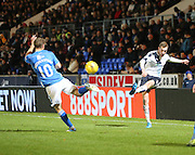 Dundee&rsquo;s Kevin Holt curls in a cross - St Johnstone v Dundee, Ladbrokes Scottish Premiership at McDiarmid Park<br /> <br />  - &copy; David Young - www.davidyoungphoto.co.uk - email: davidyoungphoto@gmail.com