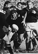 "All Black Brian ""Jazz"" Muller (centre) with Brian Lochore, Frik du Preez and Hannes Marais behind.<br /> All Blacks tour to South Africa in 1970.<br /> Copyright photo: Wessel Oosthuizen / www.photosport.co.nz"