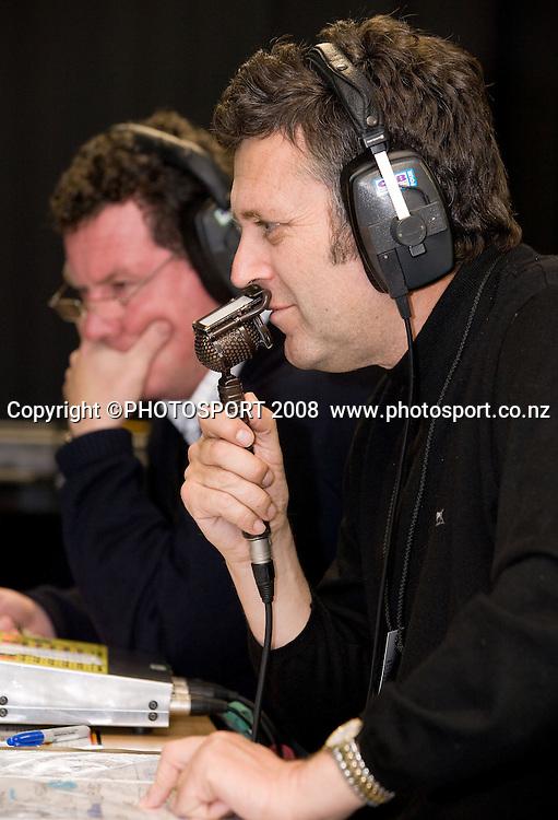 Sky TV commentators John Drake and Tony Johnson. Air NZ Cup, Waikato v Auckland, Waikato Stadium, Hamilton, Saturday 30 August 2008. Waikato won 34-13. Photo: Stephen Barker/PHOTOSPORT