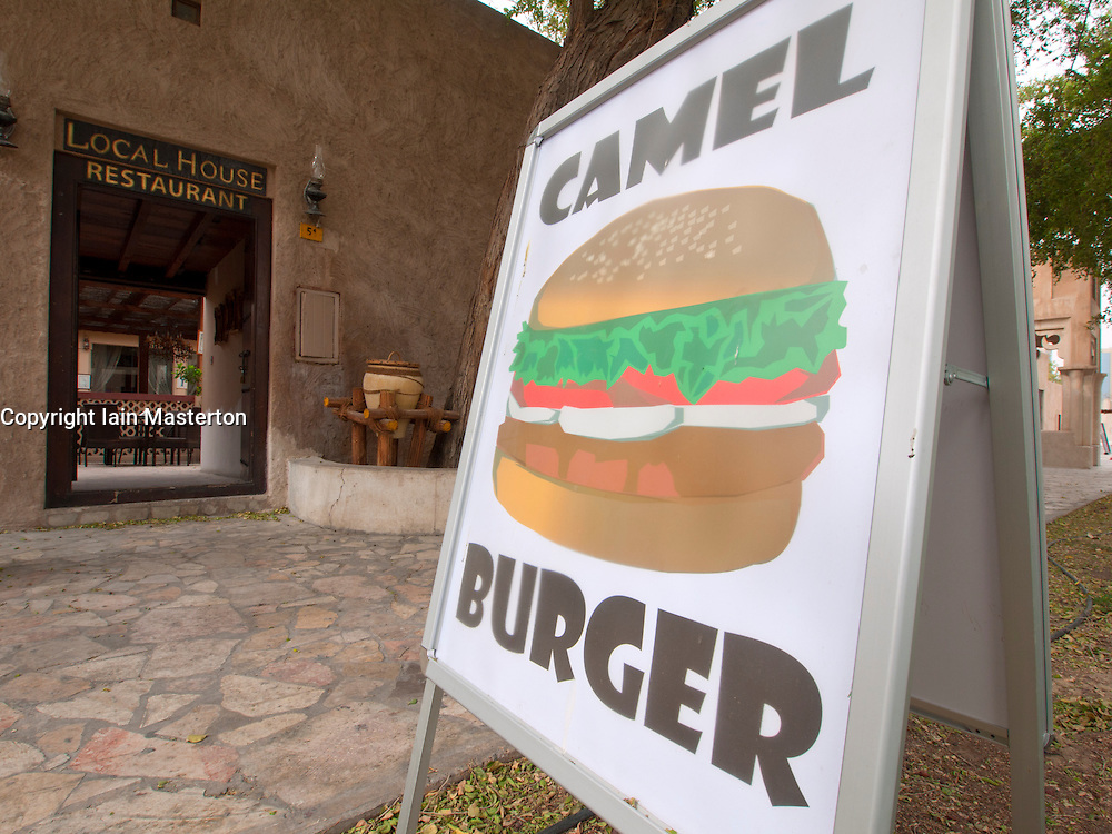 Cafe selling camel burgers at Bastakia Quarter Bur Dubai, Dubai, United Arab Emirates, UAE