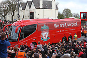 Liverpool bus arrives before the Premier League match between Liverpool and Stoke City at Anfield, Liverpool, England on 28 April 2018. Picture by Craig Galloway.