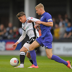 TELFORD COPYRIGHT MIKE SHERIDAN Chris Lait of Telford tussles for possession with Brad Ash of Hereford during the National League North fixture between Hereford FC and AFC Telford United at Edgar Street, Hereford on Tuesday, August 13, 2019<br /> <br /> Picture credit: Mike Sheridan<br /> <br /> MS201920-009
