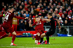 Marcos Llorente of Atletico Madrid scores a goal to make it 2-2 - Mandatory by-line: Robbie Stephenson/JMP - 11/03/2020 - FOOTBALL - Anfield - Liverpool, England - Liverpool v Atletico Madrid - UEFA Champions League Round of 16, 2nd Leg