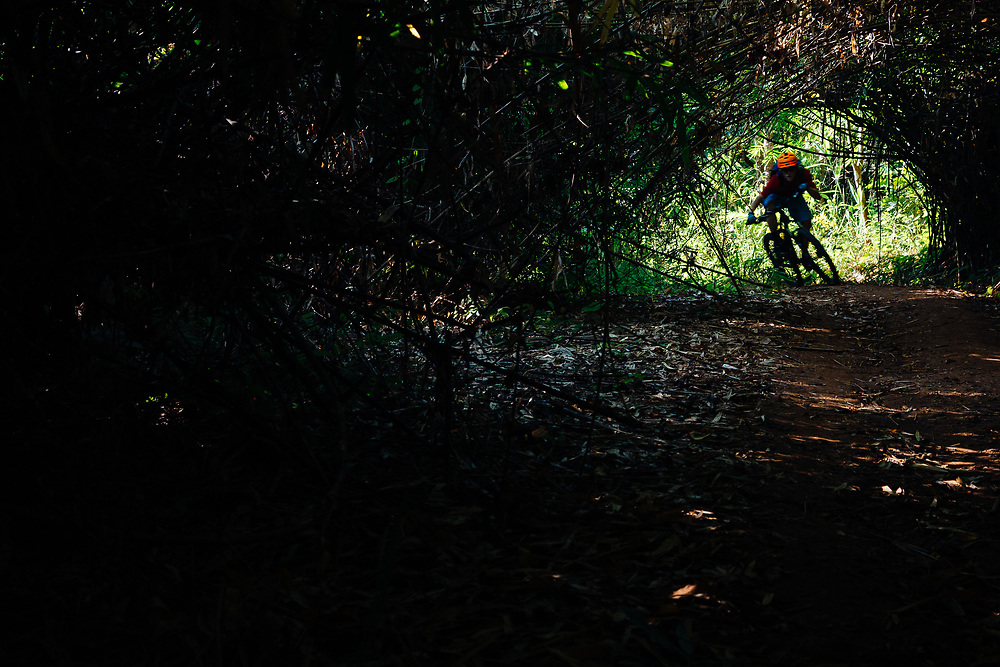 Andrew Whiteford rides single track in the bamboo forest Tunnel Trail in the jungle near Ban Sop Gai, Thailand.