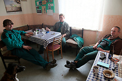CZECH REPUBLIC VYSOCINA NEDVEZI 18OCT17 - Farmers during morning coffee break in the village of Nedvezi, Vysocina, Czech Republic.<br /> <br /> jre/Photo by Jiri Rezac<br /> <br /> © Jiri Rezac 2017