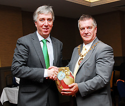 Cathaoirleach of Westport Town Council Christy Hyland making a  presentation to FAI CEO John Delaney at the Westport Town Council Civic reception...Pic Conor McKeown..Pic Conor McKeown