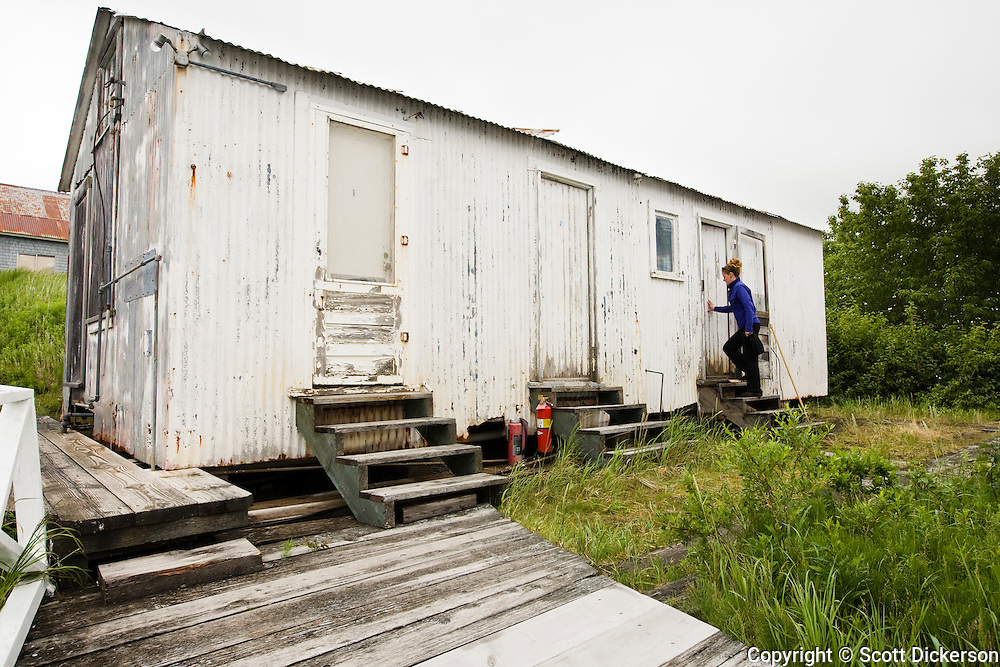 Old salmon cannery bunkhouse is used for fishing crew when on shore at the Trident Seafoods cannery in South Naknek, Alaska.