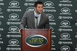 Mar 26; Florham Park, NJ, USA; Newly acquired New York Jets quarterback Tim Tebow addresses the media at the Atlantic Health Jets Training Center.