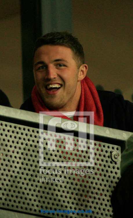 Sam Burgess former South Sydney Rabbitohs player sat in the stands during the World Club Challenge match at Langtree Park , St Helens<br /> Picture by Richard Gould/Focus Images Ltd +44 7855 403186<br /> 22/02/2015