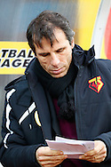 Picture by David Horn/Focus Images Ltd +44 7545 970036<br /> 14/12/2013<br /> Gianfranco Zola , Head Coach of Watford looks at his notes during the Sky Bet Championship match at Vicarage Road, Watford.