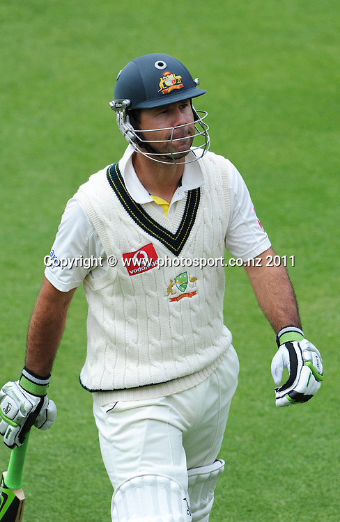 Ricky Ponting on Day 4 of the second cricket test between Australia and New Zealand Black Caps at Bellerive Oval in Hobart, Monday 12 December 2011. Photo: Andrew Cornaga/Photosport.co.nz
