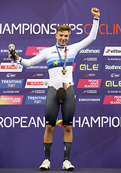 Germany's Domenic Weinstein on the podium after winning the Gold Medal in the Mens 4000m Individual Pursuit during day four of the 2018 European Championships at the Sir Chris Hoy Velodrome, Glasgow.