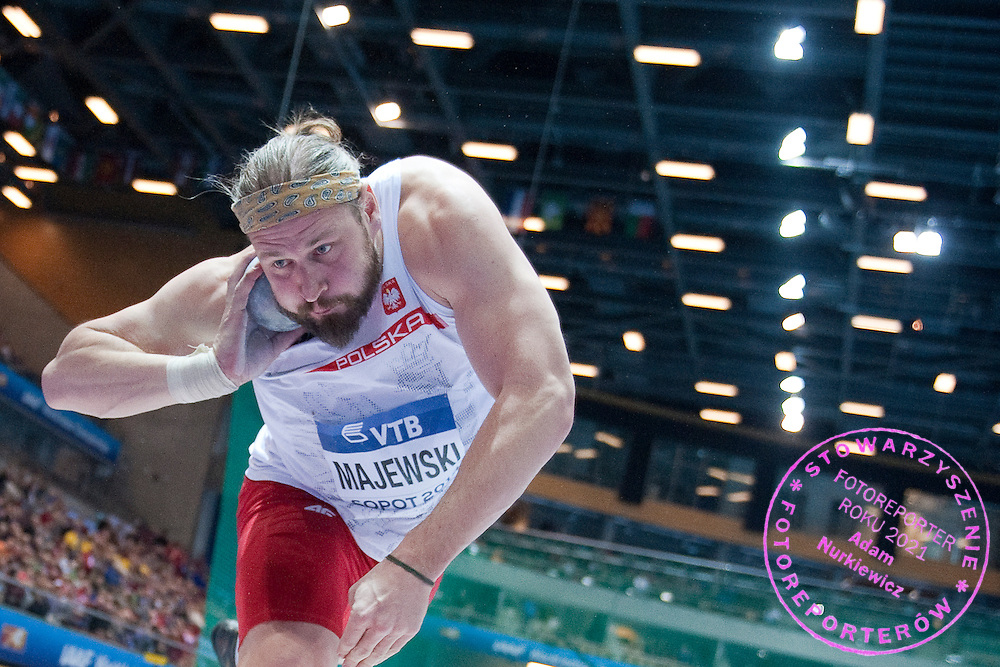 Tomasz Majewski of Poland competes in men's shot put qualification during the IAAF Athletics World Indoor Championships 2014 at Ergo Arena Hall in Sopot, Poland.<br /> <br /> Poland, Sopot, March 7, 2014.<br /> <br /> Picture also available in RAW (NEF) or TIFF format on special request.<br /> <br /> For editorial use only. Any commercial or promotional use requires permission.<br /> <br /> Mandatory credit:<br /> Photo by &copy; Adam Nurkiewicz / Mediasport