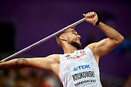 Great Britain, London - 2017 August 12: Marcin Krukowski (Warszawianka) of Poland competes in men's javelin throw final during IAAF World Championships London 2017 Day 9 at London Stadium on August 12, 2017 in London, Great Britain.<br /> <br /> Mandatory credit:<br /> Photo by © Adam Nurkiewicz<br /> <br /> Adam Nurkiewicz declares that he has no rights to the image of people at the photographs of his authorship.<br /> <br /> Picture also available in RAW (NEF) or TIFF format on special request.<br /> <br /> Any editorial, commercial or promotional use requires written permission from the author of image.