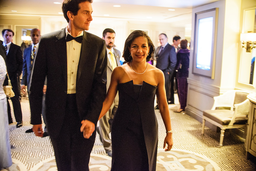 "Photo by Matt Roth.Assignment ID: 10137379A..Ian Cameron, left walks with his wife Susan Rice, the United States U.N. ambassador into Buffy and Bill Cafritz, Ann and Vernon Jordan, Vicki and Roger Sant inaugural ""Bi-Partisan Celebration"" at the Dolley Madison Ballroom at the Madison Hotel in Washington, D.C. on Sunday, January 20, 2013."