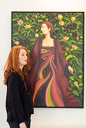 The legendary events and personal tragedies that marked the life of Mary, Queen of Scots will be the subject of a new exhibition in Edinburgh this autumn. Linger Awhile, which will open on 14 September at Arusha Gallery, will include 17 new oil paintings by Glasgow-based artist Helen Flockhart, focusing on the human side of the historical figure.<br /> <br /> Helen Flockhart (b.1963) is one of the finest and most distinctive Scottish artists of her generation. She often draws creative inspiration from esoteric and mythical sources, and her unique style combines intricate patterns, backdrops of lush foliage, and surreal scenes that appear suspended in time.<br /> <br /> Pictured: Helen Flockhart with Her Rob Ryall, 2018