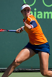 March 22, 2018 - Key Biscayne, FL, U.S. - KEY BISCAYNE, FL - MARCH 22: Christina Mchale (USA) in action on Day 4 of the Miami Open on March 22, 2018, at Crandon Park Tennis Center in Key Biscayne, FL. (Photo by Aaron Gilbert/Icon Sportswire) (Credit Image: © Aaron Gilbert/Icon SMI via ZUMA Press)
