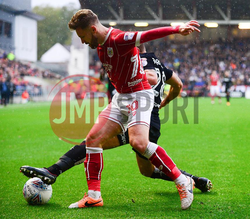 Matty Taylor of Bristol City challenges for the ball - Mandatory by-line: Dougie Allward/JMP - 21/10/2017 - FOOTBALL - Ashton Gate Stadium - Bristol, England - Bristol City v Leeds United - Sky Bet Championship
