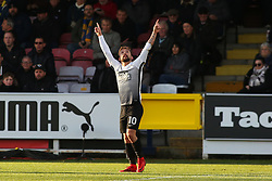 Danny Lloyd of Peterborough United points to the sky after scoring the equalising goal - Mandatory by-line: Joe Dent/JMP - 12/11/2017 - FOOTBALL - Cherry Red Records Stadium - Kingston upon Thames, England - AFC Wimbledon v Peterborough United - Sky Bet League One