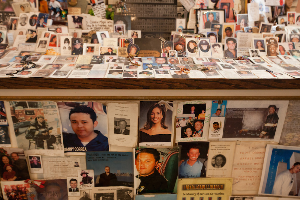 A memorial to victims of the 9/11 terrorist attacks that took down the World Trade Center inside St Paul's Chapel across from Ground Zero, in New York City , September 9, 2011. New York  has heightened security  as the 10th anniversary of the 9/11 World Trade Center approaches.