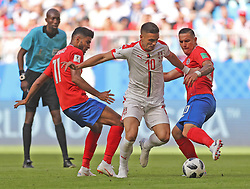 SAMARA, June 17, 2018  Dusan Tadic (2nd R) of Serbia breaks through with the ball against players of Costa Rica during a group E match between Costa Rica and Serbia at the 2018 FIFA World Cup in Samara, Russia, June 17, 2018. (Credit Image: © Fei Maohua/Xinhua via ZUMA Wire)