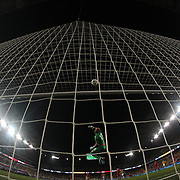 Goalkeeper Milan Borjan, Canada, tips a shot over the bar during the Columbia Vs Canada friendly international football match at Red Bull Arena, Harrison, New Jersey. USA. 14th October 2014. Photo Tim Clayton
