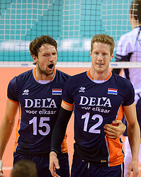 20150613 NED: World League Nederland - Finland, Almere<br /> Thomas Koelewijn #15, Kay van Dijk #12
