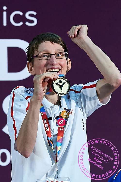 SO Poland athlete Teresa Cicha while medal ceremony after bowling competition during fifth day of the Special Olympics World Games Los Angeles 2015 on July 29, 2015 at Los Angeles Convention Centre in Los Angeles, USA.<br /> <br /> USA, Los Angeles, July 29, 2015<br /> <br /> Picture also available in RAW (NEF) or TIFF format on special request.<br /> <br /> For editorial use only. Any commercial or promotional use requires permission.<br /> <br /> Adam Nurkiewicz declares that he has no rights to the image of people at the photographs of his authorship.<br /> <br /> Mandatory credit:<br /> Photo by &copy; Adam Nurkiewicz / Mediasport
