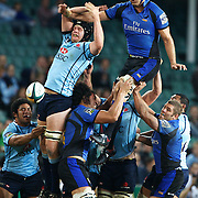 Nathan Sharpe wins a line out from Will Caldwell  during the Super 14 match between the Waratahs and the Western Force at the Sydney Football Stadium, Sydney, Australia on April 18, 2009.  Photo Tim Clayton