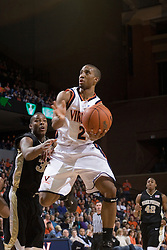Virginia Guard J.R. Reynolds in action against Wake Forest.  Reynolds scored a career-high 40 points as the Virginia Cavaliers defeated the Wake Forest Demon Decons 88-76 at the John Paul Jones Arena in Charlottesville, VA on January 21, 2007.