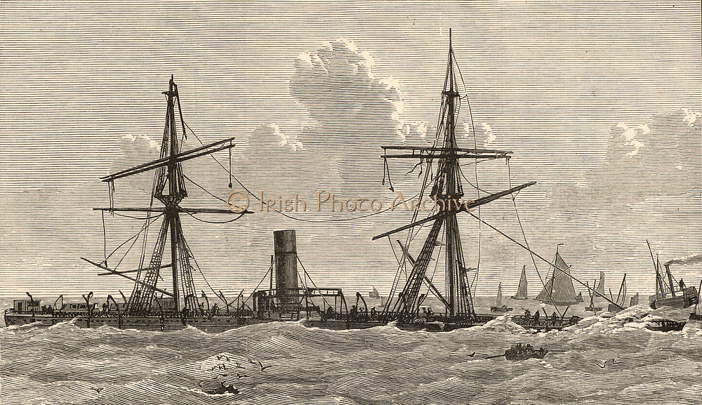 Steam ship 'Deutschland'  wrecked on the sandbank off the Thames Estuary known as the Kentish Knock during a storm on the night of 6th to 7th December 1875.  Among those on board who were lost were five Franciscan nuns, refugees from Germany's anti-Catholic Falk Laws. The English Jesuit poet Gerard commemorated the event in his poem 'The Wreck of the Deutschland' (1876). Engraving from 'The Sea' by F Whymper (London, c1890).