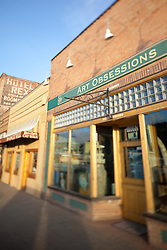 """Art Obsessions in Downtown Truckee"" - Photograph of the Art Obsessions art gallery in historic Downtown Truckee, California. A tilt-shift lens was used to achieve the focus effect."
