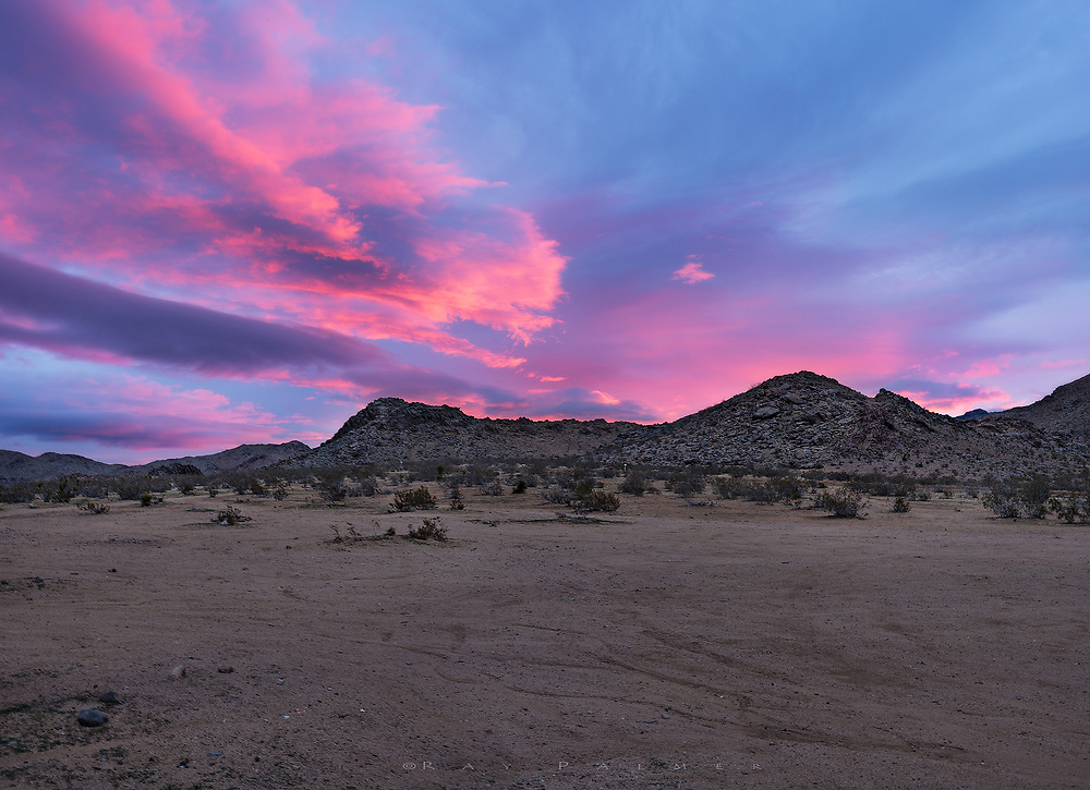 Sunrise, Mojave Desert, California.  Running with cameras is generally not good, but I did, up the slab pile of a similar hill to the ones lined against the horizon.  I had no stake out, no plan due to the bad forecast, when the dead sky I'd been driving into for an hour suddenly awoke.  Hurrying to set it all up, out of breath, fumbling with tripod and exposure wheels and lenses to try and capture what would be gone in five minutes.  January can be cold in the high desert, despite the cactus, the sand, and the southwest hype that makes your mind think heat when you leave the East.  But once here, reality and memory kicks in, and you better layer up until the sun breaks the overcast.  Sun is the magic in the desert;  without it, the color is cool, the bareness is palpable.  As if to emphasize, even the magenta was a cold red today.   It was gone as fast as it came on.  As I picked my way back down the hillside when it was all over, and the sky was a dull slate gray, I'm sure my shoulders  sagged a little under the transition into uncertainty.  I considered how good it all feels when it's new, when everything blushes.  Can I even count  how often my beginnings have started this way, how often promise has dangled before me, and how often I've struggled to trust as the color fades and doubt creeps in.  I surrendered, and hoped today the Mojave would prove me wrong.