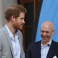 Prince Harry arrives arrives at the Veterans Mental Health Conference with Head Together at King Col