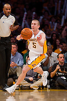 25 December 2011: Guard Steve Blake of the Los Angeles Lakers passes the ball against the Chicago Bulls during the second half of the Bulls 88-87 victory over the Lakers at the STAPLES Center in Los Angeles, CA.