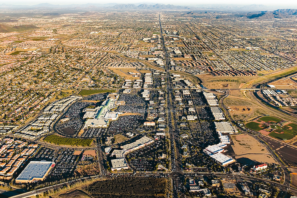 Arrowhead Town Center is a regional shopping mall in the West Phoenix area. Post-World War II suburbs typically lack the traditional pedestrian-based town center; instead, a car is necessary to access the area's commercial center and to move within it.