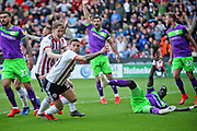 Sheffield Utd forward Billy Sharp (10) opens the scoring during the EFL Sky Bet Championship match between Sheffield United and Bristol City at Bramall Lane, Sheffield, England on 30 March 2019.