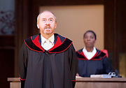 Terror <br /> by Ferdinand von Schirach <br /> directed by Sean Holmes <br /> at the <br /> Lyric Hammersmith, London, Great Britain <br /> press photocall <br /> 19th June 2017 <br /> <br /> <br /> Forbes Masson as Defence Counsel Biegler <br /> <br /> <br /> <br /> <br /> Tanya Moodie as Judge <br /> <br /> <br /> <br /> <br /> <br /> Photograph by Elliott Franks <br /> Image licensed to Elliott Franks Photography Services