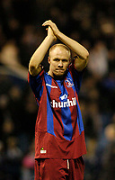 Fotball<br /> England 2004/2005<br /> Foto: SBI/Digitalsport<br /> NORWAY ONLY<br /> <br /> West Bromwich Albion v Crystal Palace<br /> Barclays Premiership. 01/02/2005.<br /> Crystal Palace's Andy Johnson applauds the fans after scoring both goals as his team, down to 10 men for most of the match, escapes with a last-gasp draw.