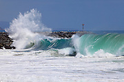 Waves Crashing at the Wedge in Newport Beach California