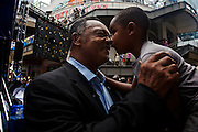 Rev. Jesse Jackson rubs noses with 4-year-old Fielding Bolinger, before Jackson appears live on Hardball with Chris Matthews at the EpiCentre the day before the opening of the 2012 Democratic National Convention on Monday, September 3, 2012 in Charlotte, NC. Jackson will give opening remarks for the convention.