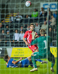 SWANSEA, ENGLAND - Friday, September 4, 2009: Wales' Ched Evans sees his shot deflected over the Italy goal during the UEFA Under 21 Championship Qualifying Group 3 match at the Liberty Stadium. (Photo by Gareth Davies/Propaganda)