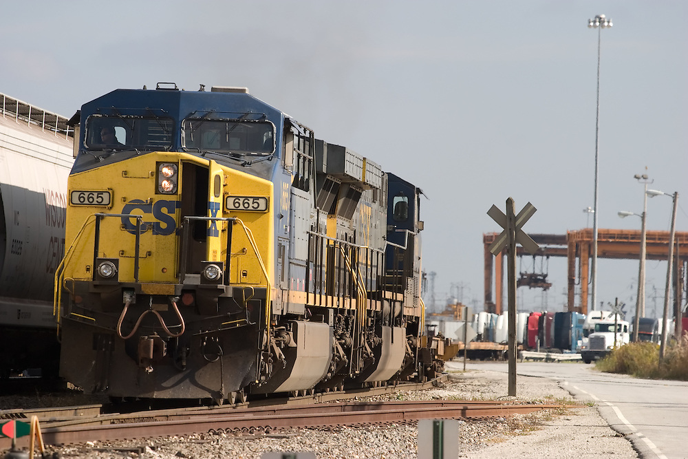 A CSX intermodal train is switching out the container terminal at Bedford Park, on Chicago's south side.