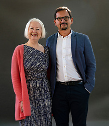 Edinburgh, Scotland, UK. 25 August 2019. Scottish Poet  Christine de Luca and University of Edinburgh academic Carlo Pirozzi are  collaborators on a new book, Paolozzi at Large, which pays tribute to the Leith born sculptor.  Iain Masterton/Alamy Live News.